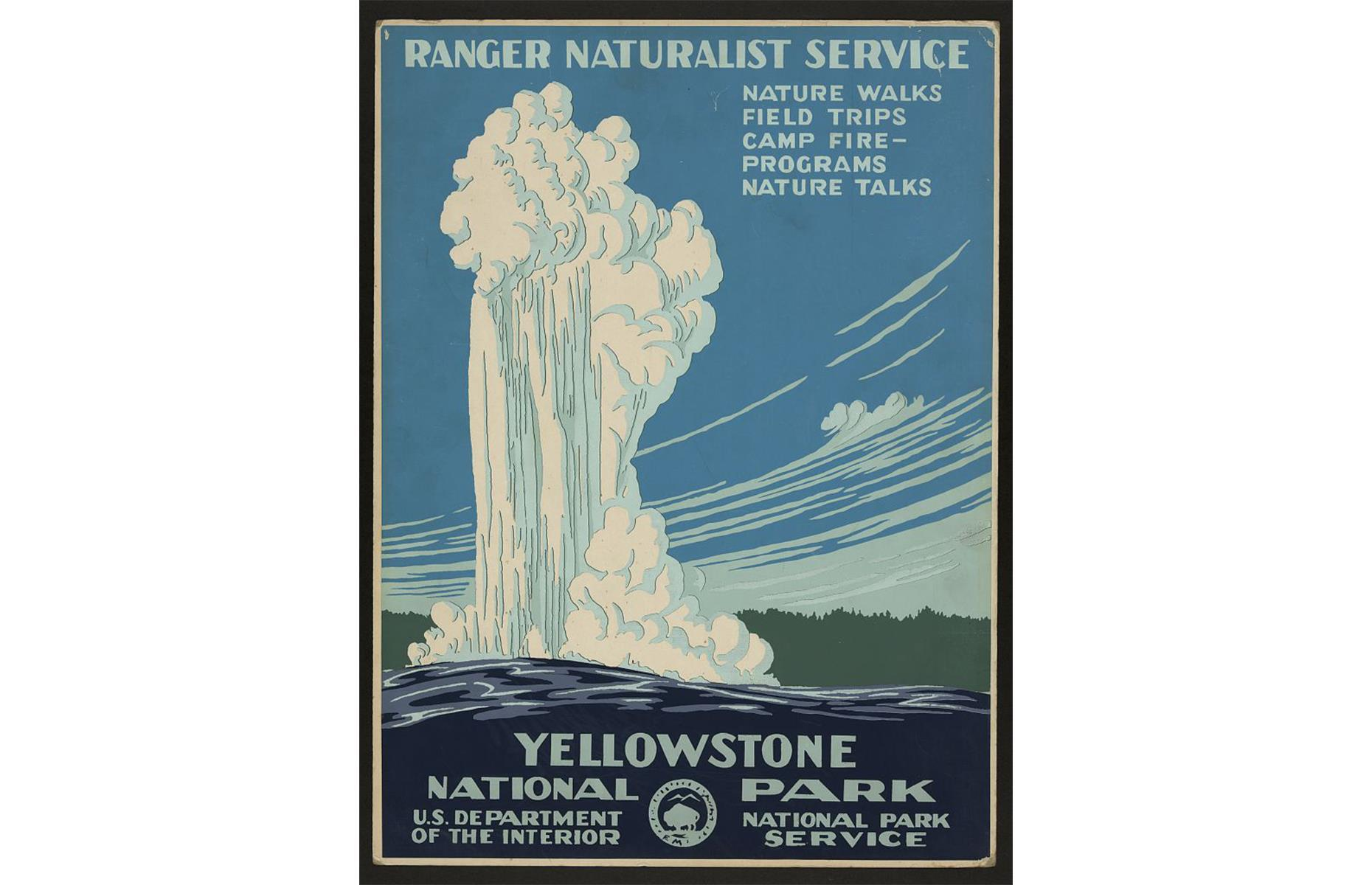 Slide 8 of 48: The National Park Service system was established in 1916, more than 40 years after the designation of America's first national park, Yellowstone,whose explosive Old Faithful Geyser is depicted in this retro travel poster. The Californian park was a hugely popular travel attraction, drawing more than 35,000 people to explore it in 1916. Discover 29 things you didn't know you could do in national parks.