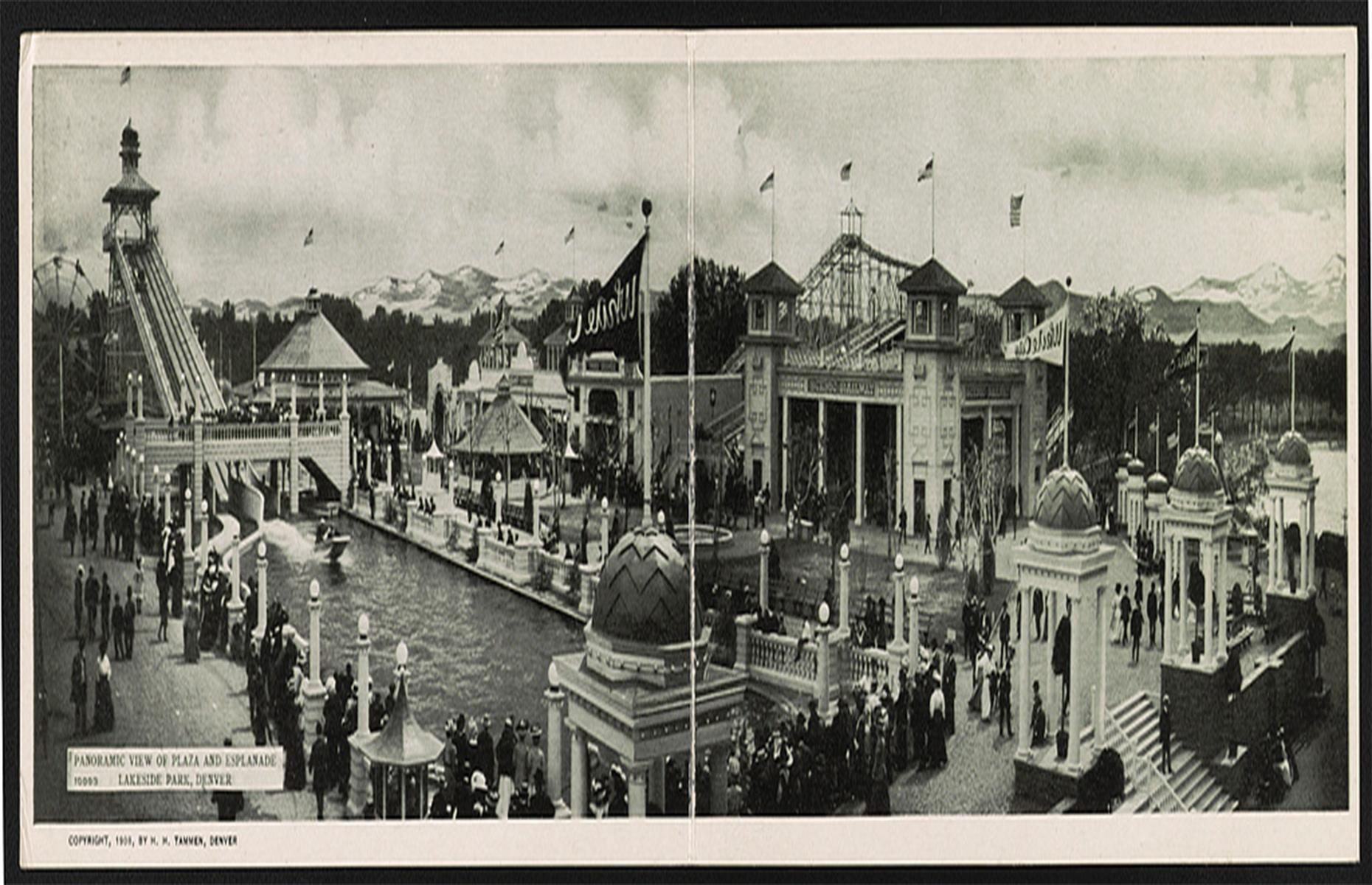 Slide 6 of 48: The 1900s was a decade that saw a surge in the popularity of amusement parks. Lakeside, a small town near Denver, has one of the country's oldest. Originally called White City, the park opened next to Lake Rhoda in 1908 to a crowd of 50,000 people. It had a swimming beach, casino, theater, racetrack and public pool as well as traditional fairground rides. Lakeside Amusement Park is still in operation today. Discover US theme parks that didn't go the distance and are now abandoned here.