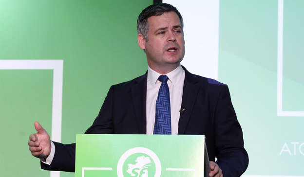 Pearse Doherty wearing a suit and tie: Sinn Fein's Pearse Doherty has slated the Minister for Health, Stephen Donnelly, over the vaccine rolllout. Pic: Leah Farrell/RollingNews.ie