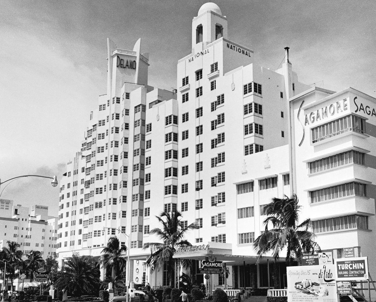 Slide 31 of 31: In this photo from the 1950s, you get a view of three of Miami Beach's historic hotels: the Delano, the National, and Sagamore. All three hotels are still there today. The 1950s were the time of Miami's peak, when Miami Beach was known as America's Playground.