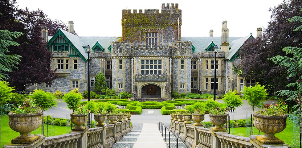 Slide 11 of 41: Royal Roads University is more than just a pretty castle, but the Hatley Park National Historic Site is pretty incredible. The rest of campus does not disappoint, with 642 acres of vibrant greenery and spectacular views of the Strait of Juan de Fuca and the exotic Japanese Garden.