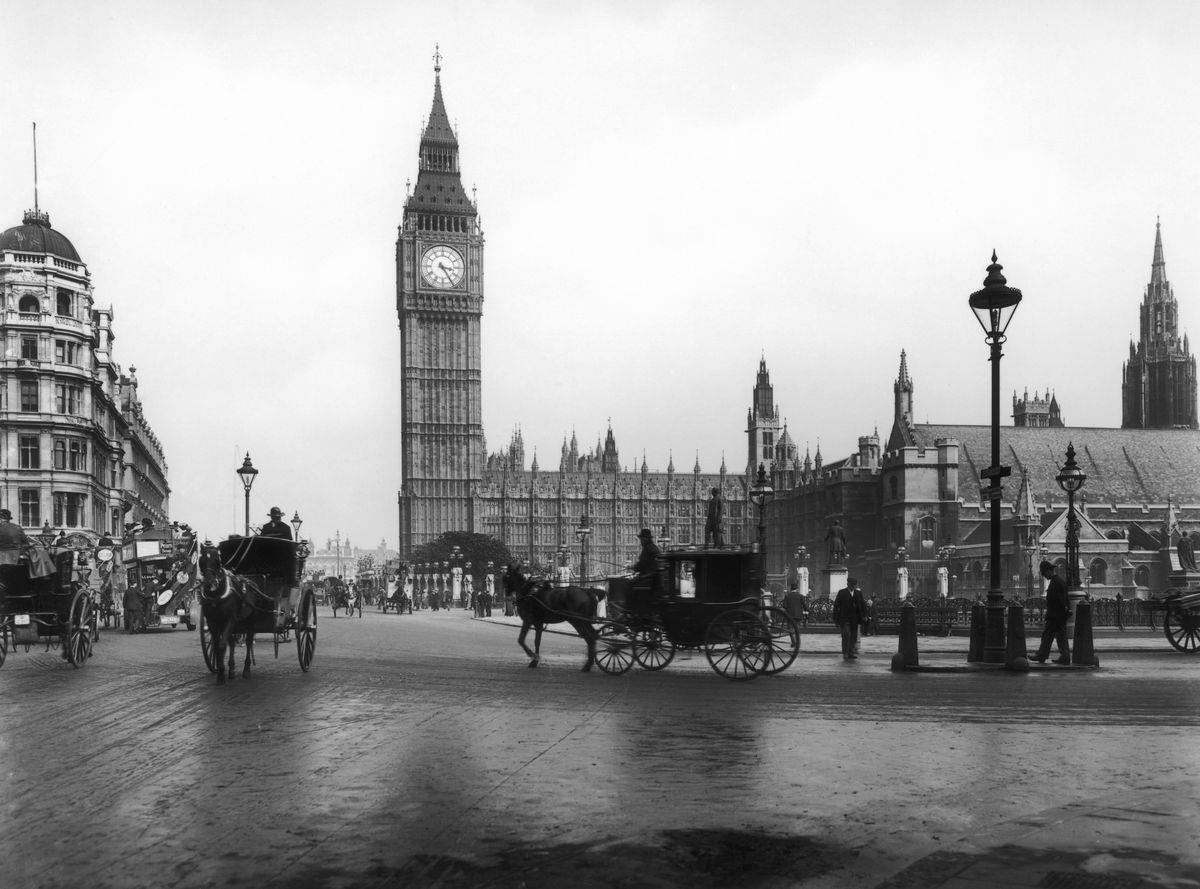 Slide 4 of 31: When in London, almost everyone makes a stop at Parliament Square to see Big Ben, among many other historical buildings and monuments. Big Ben first rang in Westminster in May 1859. This photo from 1907 was taken long after it cracked in September 1859.