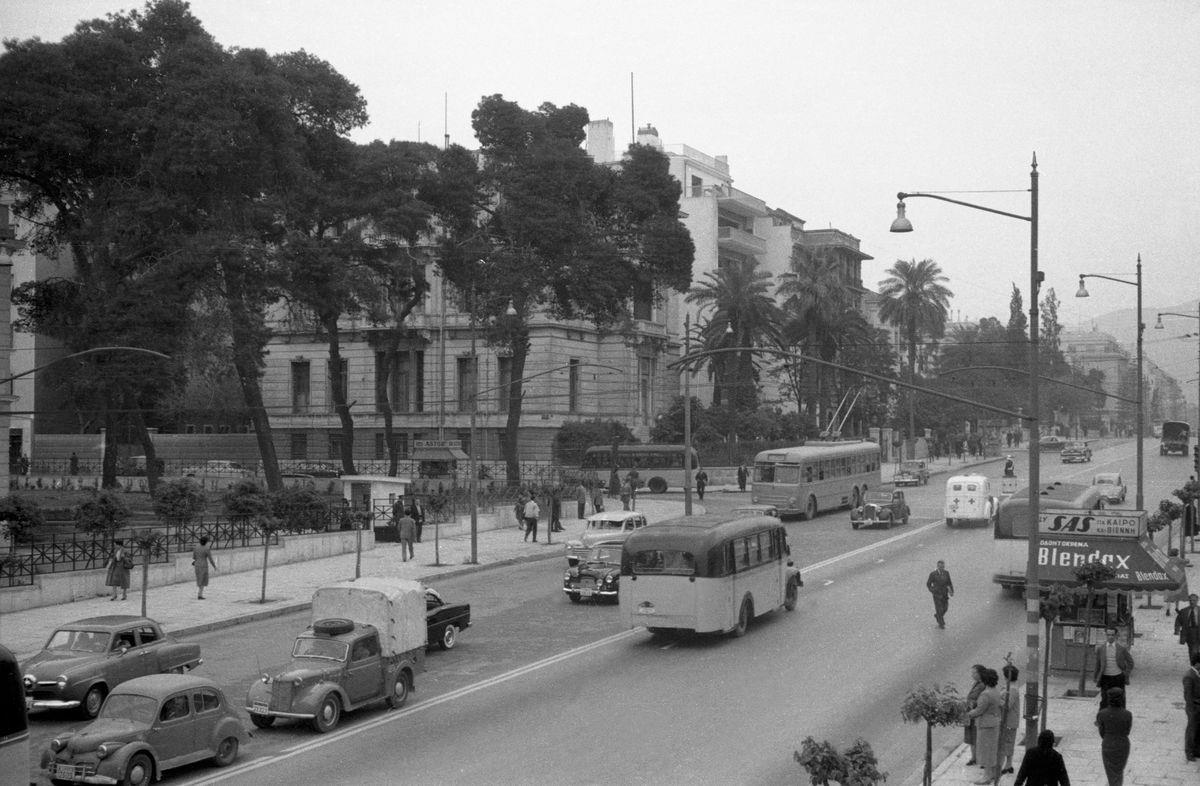 Slide 11 of 31: This photo from the 1950s gives an old look at the Queen Sophie Street in Athens, also known as Vasilissis Sofias Avenue, one of the most popular streets in the city. It was once called Kifissias Avenue after Sofia Dorothea Alice of the House Hohenzollern.