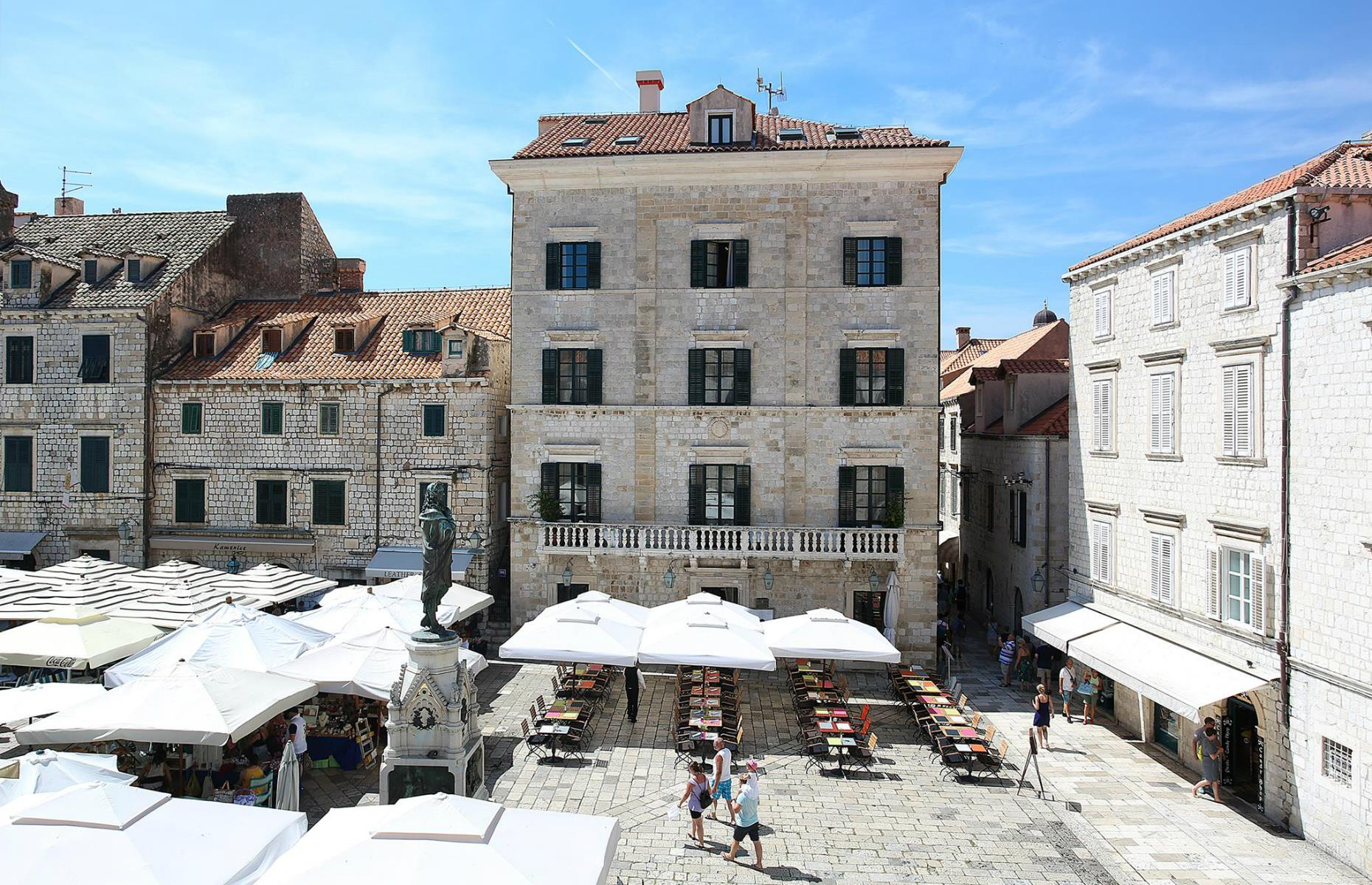 Slide 27 of 41: Set on Gundulić Square in Dubrovnik's charming old town, this grand 17th-century mansion was once the home of a local wealthy nobleman. Today it's one of the seaside city's grandest hotels, tucked in an enviable location amid Dubrovnik's medieval walls and wide marble streets.