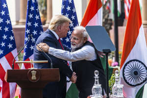 NEW DELHI, INDIA - FEBRUARY 25: US President Donald Trump and Prime Minister Narendra Modi greet each other after their joint statement, at Hyderabad House, on February 25, 2020 in New Delhi, India. (Photo by Pradeep Gaur/Mint via Getty Images): File phot of US President Donald Trump and Prime Minister Narendra Modi.