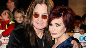 Ozzy Osbourne, Sharon Osbourne looking at the camera