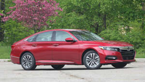 a car parked on the side of a road: 2018 Honda Accord Hybrid: Review
