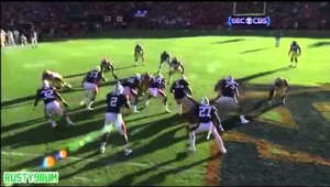 Auburn(4), undefeated against LSU(6), also undefeated. Cam Newton breaks free with amazing blocks from the Auburn O-line, and proceeds to simply outrun the LSU defense. This 49-yard touchdown run set Auburn up to win the game 24-17 and showed why Cam Newton was deserving of the Heisman trophy. War Eagle!