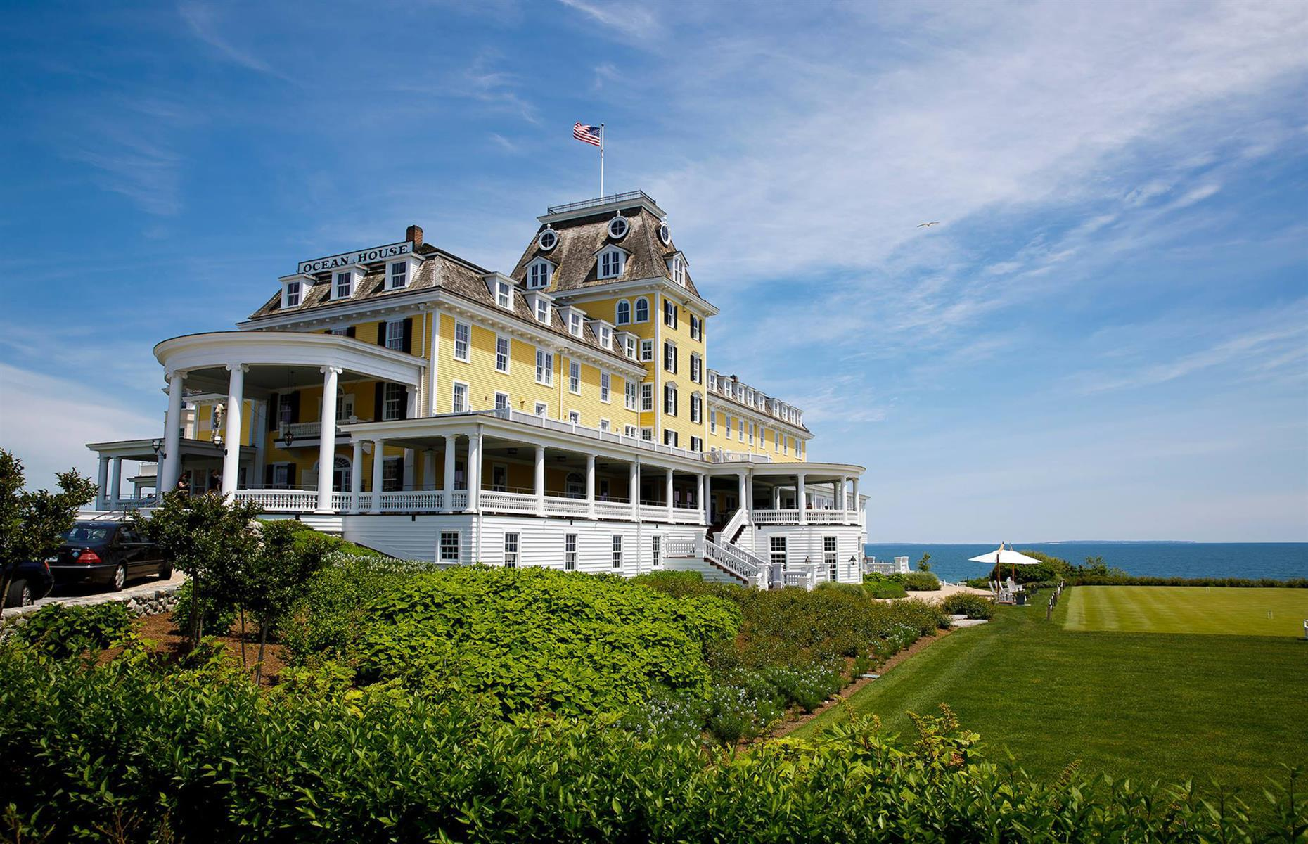 Slide 40 of 51: The charming New England town of Watch Hill served as the Hamptons of its day, and this Grand Victorian house hotel was brought thoroughly up-to-date in 2014 following a change of ownership, while retaining original features such as the stone fireplace and reception desk. With a sprawling lawn, expansive sea views and a vintage feel, Ocean House offers a proper escape from the day-to-day life.