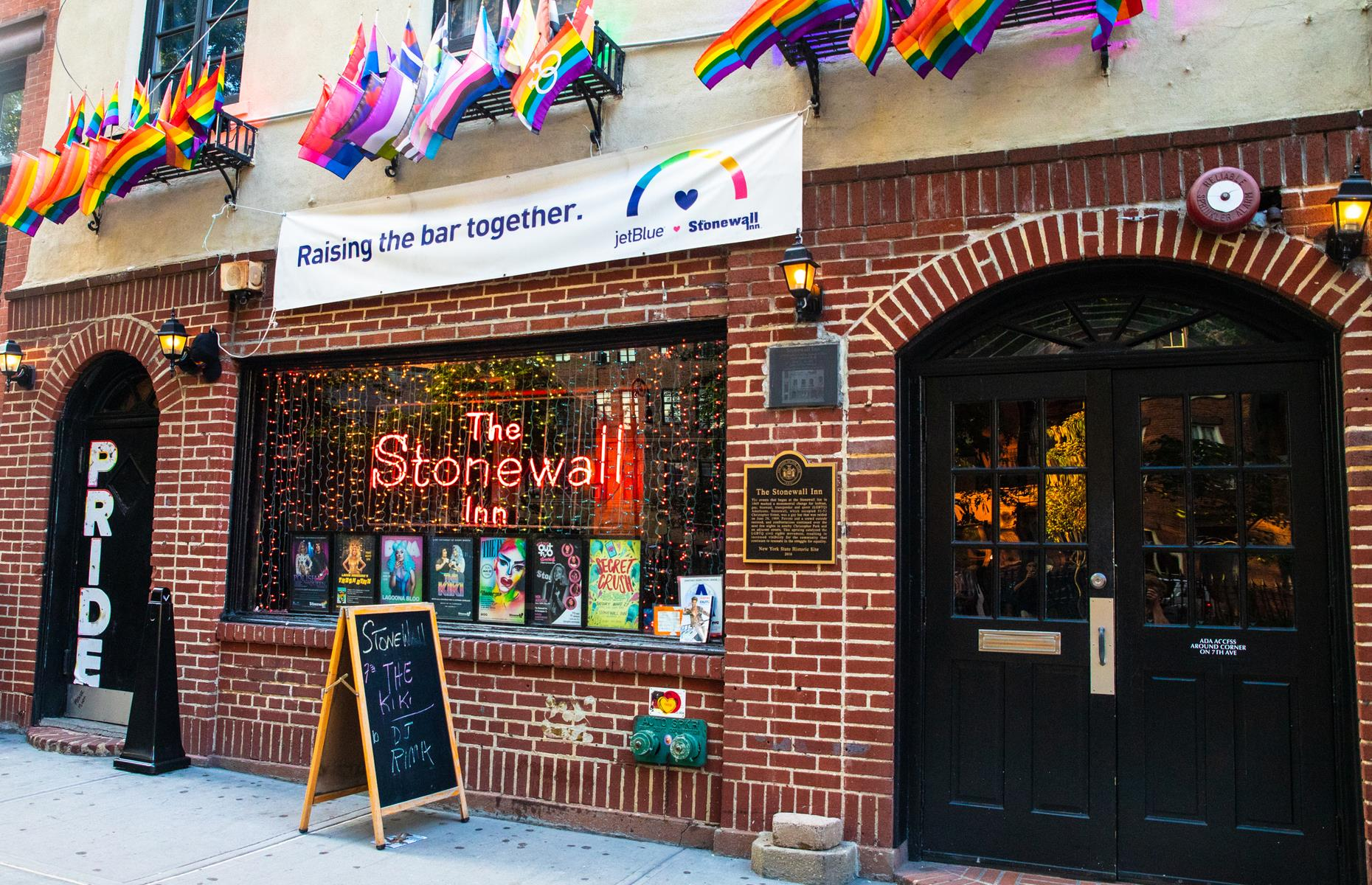 Slide 22 of 31: In America, it's impossible to talk about the history of the LGBTQ struggle for rights without mentioning theStonewall Inn in Greenwich Village. After starting its life as a nightclub for straight people, Stonewall was revamped into a gay bar back in 1966. It was here, 50years ago, that the first Gay Pride took place a year.The Stonewall Inn is credited with sparking the gay rights movement across the United States and beyond, and still operatesas a bar today.