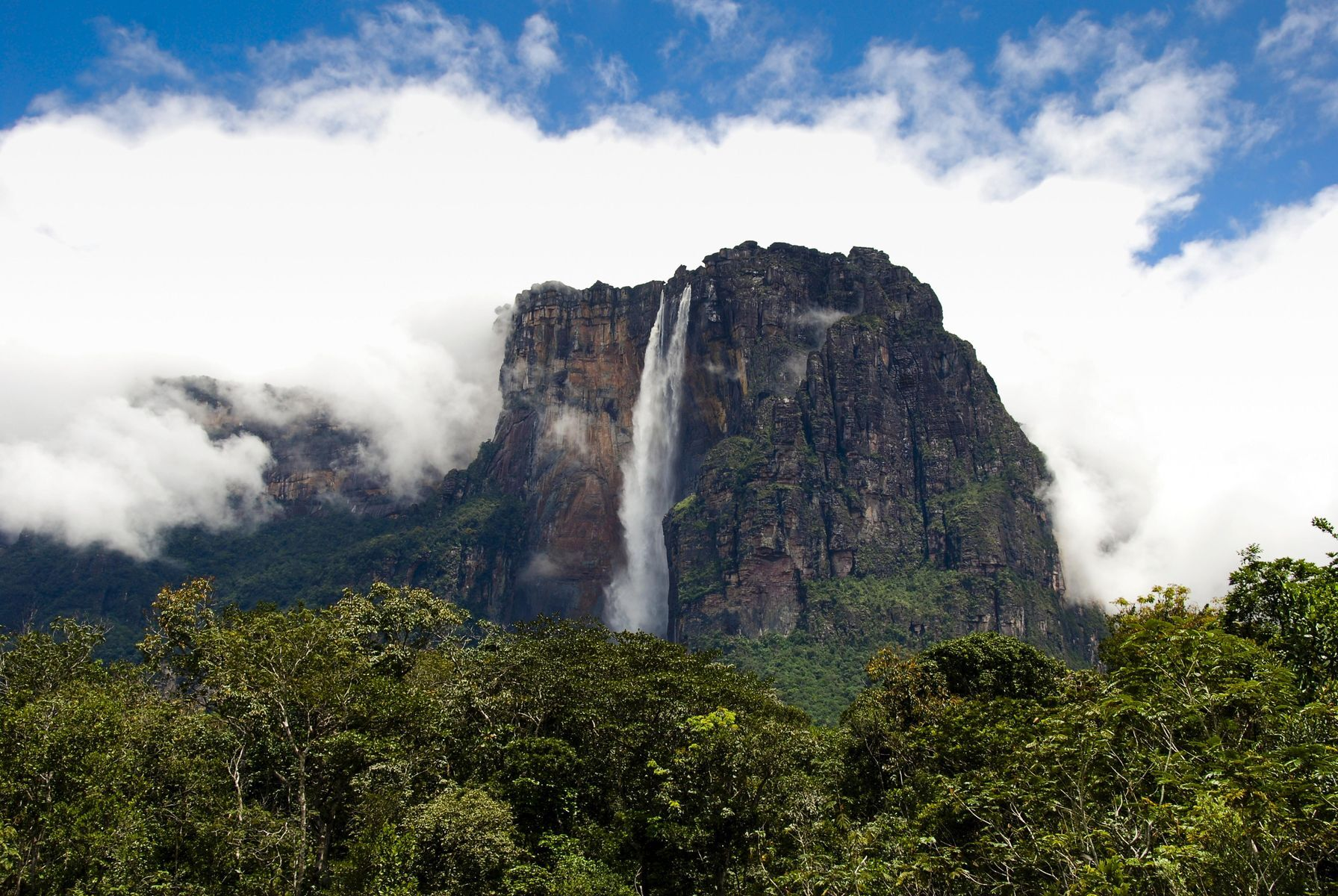Slide 10 of 31: With geology very similar to that found in Africa, Canaima is covered with flat-topped mountains known as tepui, as well as forests and a lagoon. The lagoon is a popular tourist attraction—tourists can navigate the crystal waters in a canoe. The tallest waterfall in the world, Angel Falls, falls from the summit of one of the tepui mountains called Auyantepui. The waterfall is 979 metres (3,212 feet) high and can be seen from walking routes through the tropical forest.