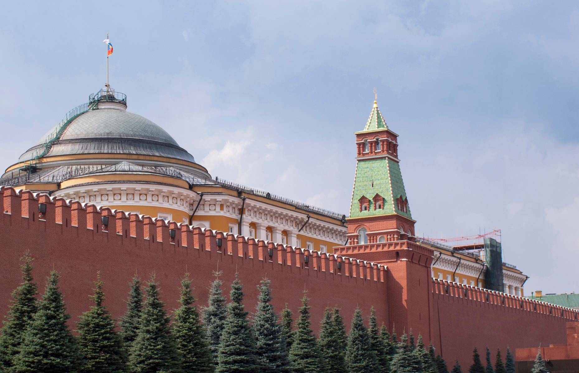 Slide 24 of 31: Visitors can walk the Kremlin's lengthy perimeter but, given the 62-foot (19m) high walls, you won't see much else. The best views of the complex and its 20 towers (which reach heights of 262 feet; 80m) are across the river in Sofiyskaya. Or, you can typically time a visit for noon on Saturday during April to September to watch the changing of the guards ceremony. An admission fee is required to enter the church museums.