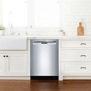 "a stove top oven sitting inside of a kitchen: bosch  300 series 24"" recessed handle dishwasher"