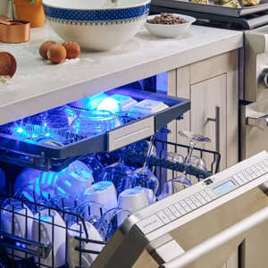 a close up of a toy kitchen: thermador dishwasher