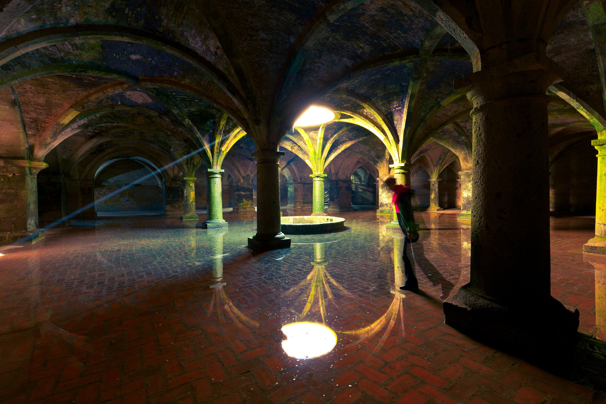Slide 24 of 52: This vaulted cistern lies underneath the Portuguese city of Mazagan (El Jadida), Morocco.