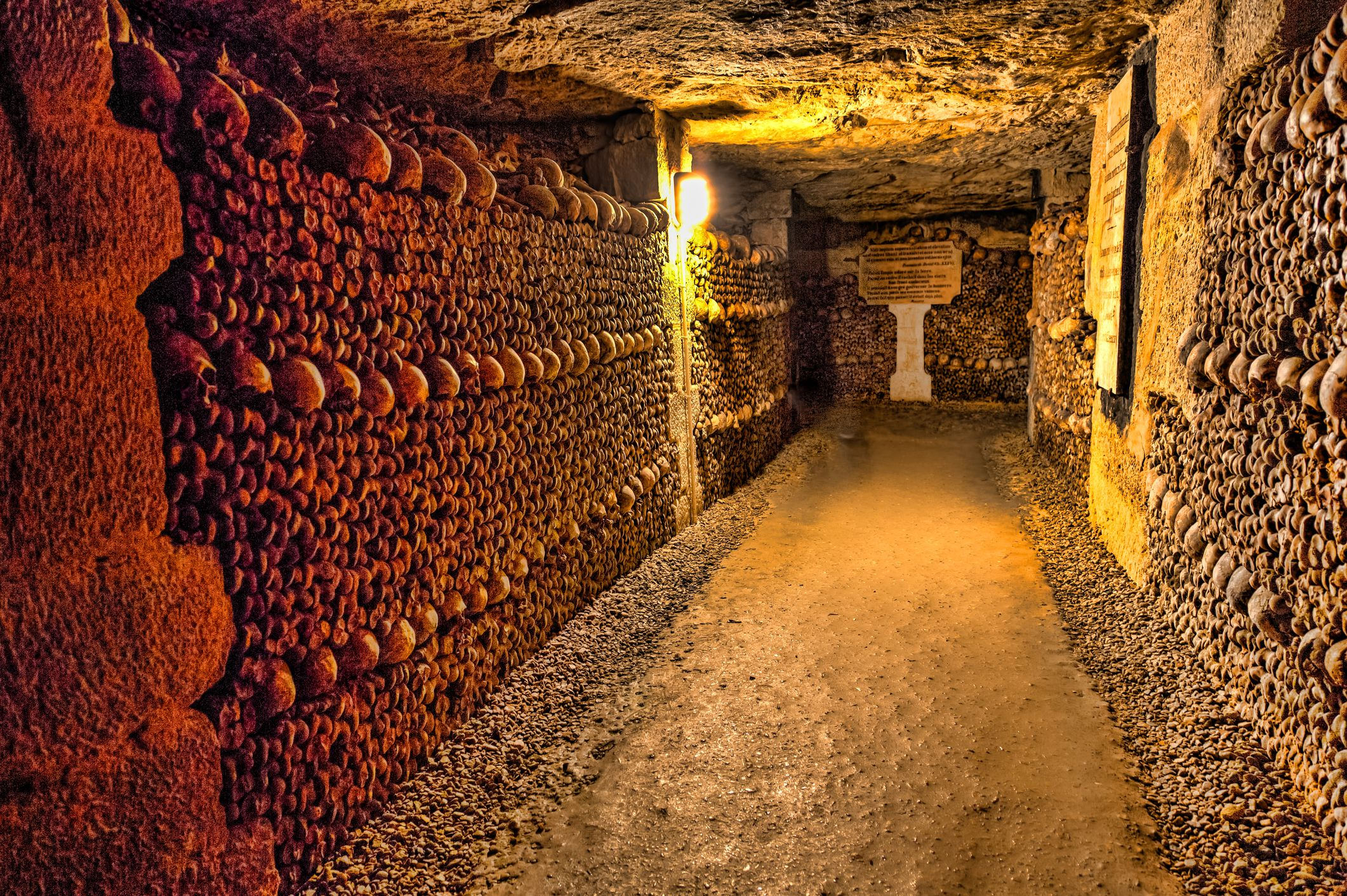 Slide 20 of 52: The underground ossuaries in Paris, France, built in the 18th century, enshrine the remains of several million Parisians.
