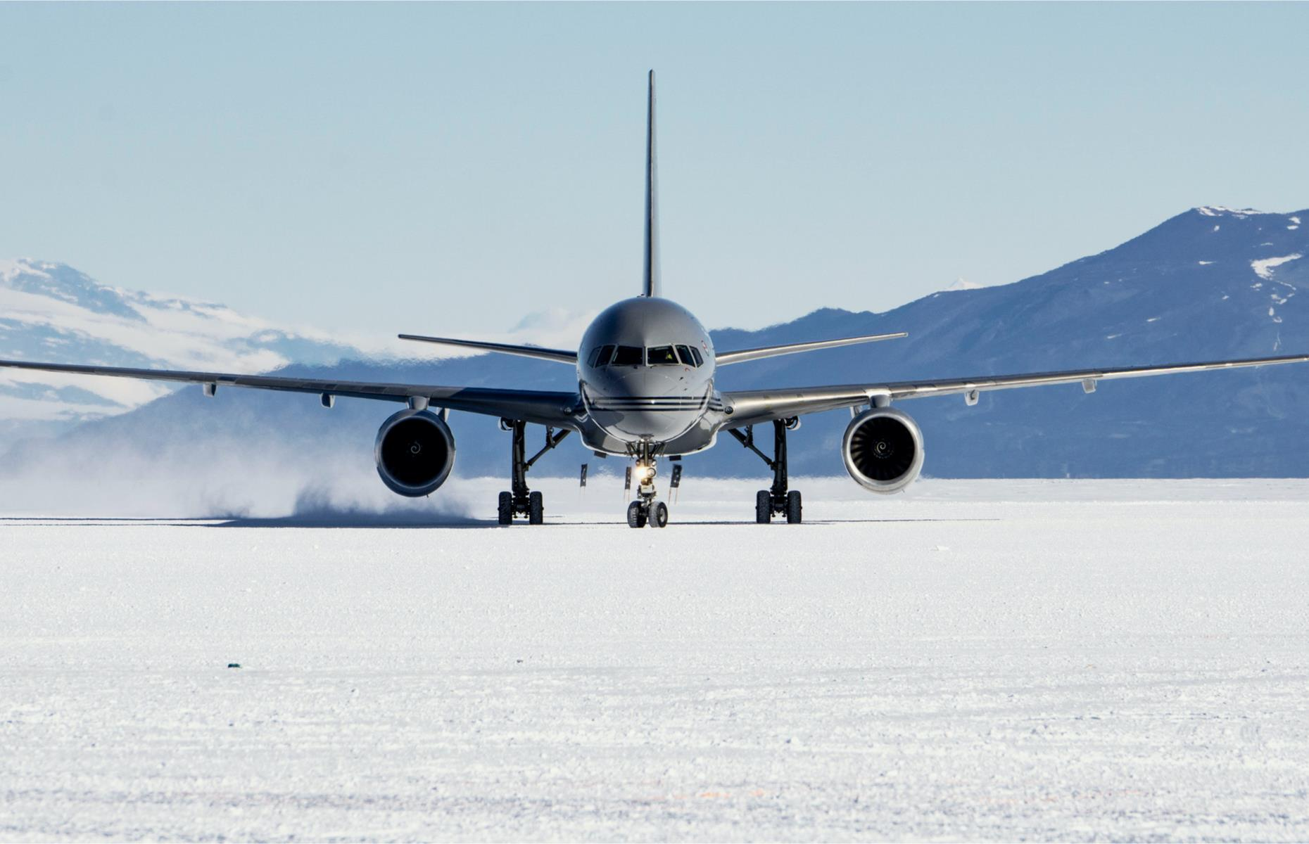 Slide 28 of 44: Instead of tarmac strip, the runway is a lengthy stretch of snow, compacted by heavy rollers to make it almost as hard as concrete. It's strong enough to contend with the weighty, two-wheeled cargo planes that bring supplies. Many of the smaller aircraft used in Antarctica also have retractable ski landing gear to stop them sinking into snowy surfaces.