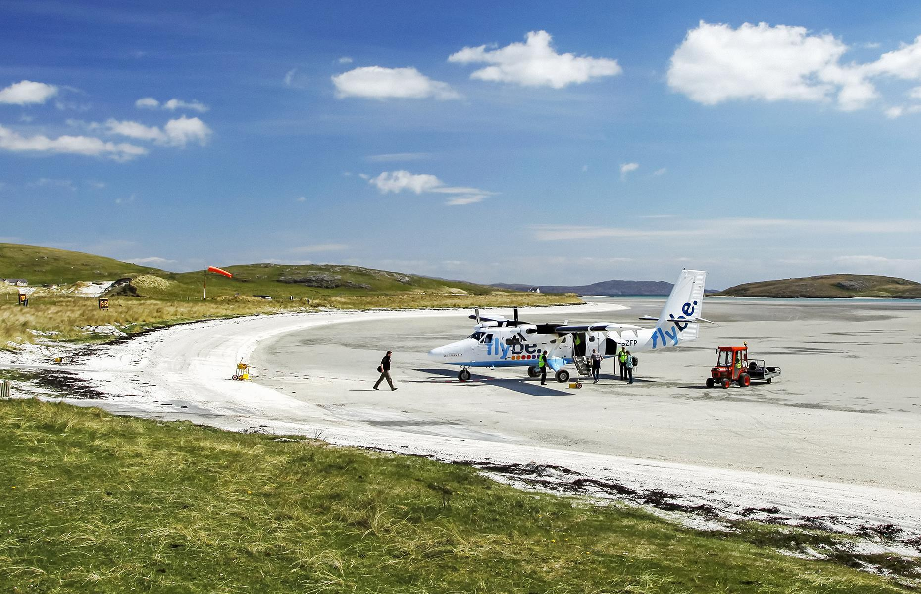 Slide 7 of 44: The stunning Hebridean island of Barra is known for its rugged landscapes and unspoiled coastline, but it's also famous for its unusual runway. Rather than a landing strip, planes descend onto the lovely white sands of Tràigh Mhòr beach. It's said to be the only beach airport to operate scheduled flights.