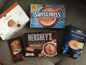text:  To find the best store-bought hot cocoa, I tried prepackaged powders from five different brands. Ghirardelli's hot cocoa was the best — it was rich and chocolaty. The other prepackaged cocoa powders didn't offer both the same chocolate flavor and creamy texture. Visit Insider's homepage for more stories. On cold days, there's nothing better than putting on your warmest sweater and cozying up with a cup of hot cocoa. But with plenty of convenient options at the grocery store, it's hard to know which one to choose.To pinpoint the best prepackaged powder, I tasted hot-cocoa mixes from five different brands: Ghirardelli, Hershey's, Land O'Lakes, Publix (store brand), and Swiss Miss.To keep things consistent, I only bought standard mixes — not flavors like dark chocolate, marshmallow, or peppermint — and used a warm water base instead of a milk alternative.Read on to find out how these hot cocoa mixes stacked up.Read the original article on Insider