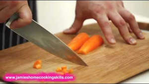Jamie's Home Cooking Skills qualification: How to chop a carrot using knife skills