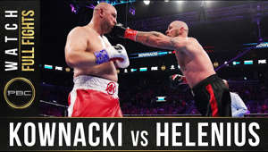 "Robert Helenius (30-3, 19 KOs)scored an upset victory over previously unbeaten Adam Kownacki (20-1, 15 KOs) by stopping him in the fourth round of a WBA Heavyweight Title Eliminator headlining FOX PBC Fight Night and on FOX Deportes Saturday night from Barclays Center, the home of BROOKLYN BOXING™.  ""I want to thank everyone who gave me this opportunity,"" said Helenius. ""Kownacki is a tough fighter. I worked hard in training camp and it paid off.""  Brooklyn's Kownacki was fighting for the 10th time at Barclays Center in front of his hometown crowd, but was unable to keep the taller Helenius off of him after being hurt early in the fourth. A clean Helenius right hook hurt Kownacki, before a left hook put Kownacki down.  ""I knew that I hit him hard and I knew I just had to continue,"" said Helenius. ""I knew he was still hurt after that punch.   ""Kownacki just kept coming and coming. He's a good fighter I have to give it to him. My strength is to punch back when people come at me. It was a good fight and a tremendous opportunity for me to be here.""  While Kownacki outpaced Helenius landing 84 punches to 49 according to CompuBox, it was Helenius' 12 power punches landed in round four that made the difference. Helenius kept up the relentless attack, consistently hurting Kownacki and pushing him around the ring until referee David Fields waived off the fight 1:08 into the round.  ""It wasn't my night,"" said Kownacki. ""It's boxing. It's a tough sport and things just didn't go my way tonight. It was a learning experience and I'm going to go back to the drawing board and get back to work.  ""He hit me with a good shot. I knew what was going on, but I'm just upset with myself. It is what it is.""    Visit PremierBoxingChampions.com for more info.