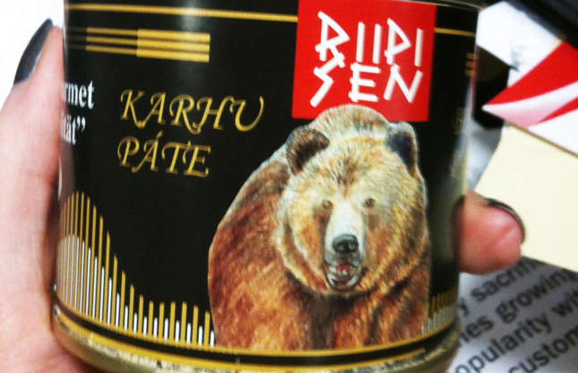 Slide 9 of 29: Finland has a tradition of bear hunting so it's not uncommon to see bear pâté, or karhu pâté as it's known, on shelves. The Riipisen pâté is made with a mix ofbear andpork meat, and serving suggestions include spreadingonbread, as a tapasdish or inmeatloaf.