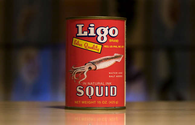 """Slide 8 of 29: You're probably used to cooking with tinned tuna, anchovies and sardines, but how about canned squid? Ligo """"extra-quality"""" squid in natural ink is manufactured in the Philippines and distributed to Asia, Europe and the US. It can be made into a number of enticing dishes includingsautéed garlic and ginger squid, and crispy calamari. Want more? Check out the world's most expensive ingredients"""