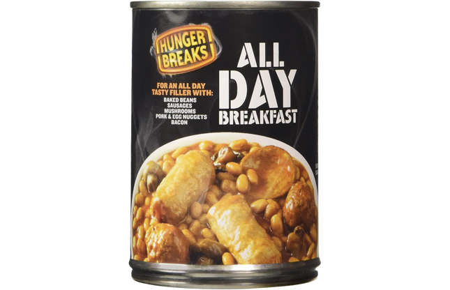 Slide 16 of 29: A lazy person's dream, this all-day breakfast tin is a meal in one, containing baked beans, sausages, mushrooms, pork and egg nuggets, and bacon. Heated ina microwave, it's ready in under three minutes – and the reviews are great.