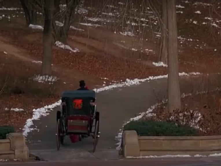 Slide 30 of 36: McCallister wanders through Central Park a few times throughout the film.It's where McCallister spots the Plaza Hotel, stows away in a horse-drawn carriage, and befriends the Pigeon Lady.