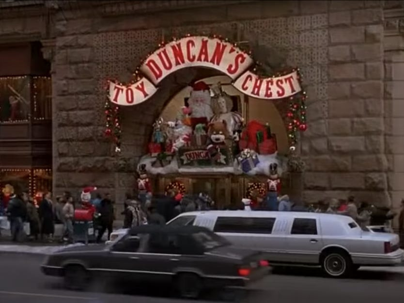 Slide 28 of 36: McCallister is ready to explore the city again, but this time he hires a limousine to take him to Duncan's Toy Chest.