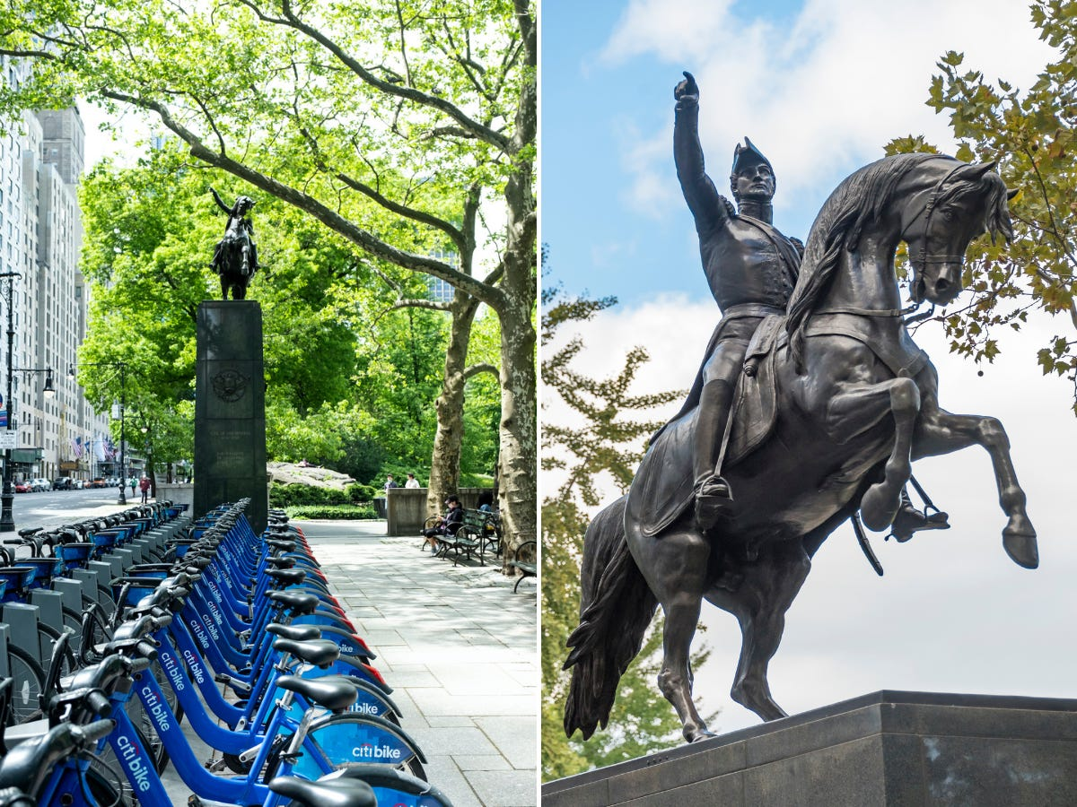 Slide 23 of 36: The general is known for helping Argentina, Chile, and Peru gain independence from the Spanish.It's a lesser-known statue, but it looks exactly the same as it did in the movie.
