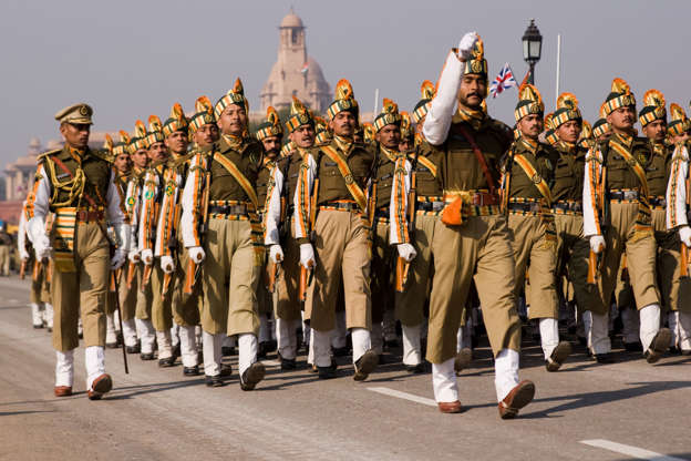 """Slide 2 of 41: """"New Delhi, India - January 20, 2008: Soldiers of the Indian Army marching down the Raj Path in preparation for the annual Republic Day Parade. The parade is held on 26 January each year to celebrate the formation of India as an independent Republic."""""""