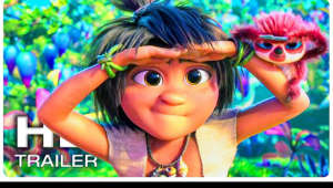 a close up of a little girl posing for a picture: official new movie trailer 2 for The Croods 2 A New Age    The prehistoric family the Croods are challenged by a rival family the Bettermans, who claim to be better and more evolved.
