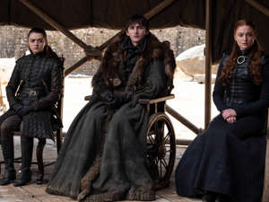 Maisie Williams, Isaac Hempstead-Wright, Sophie Turner posing for the camera: The Stark siblings assemble during the final episode of Game of ThronesHBO