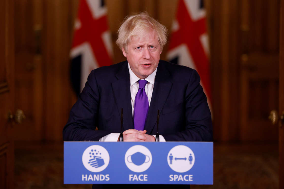 LONDON, UNITED KINGDOM - DECEMBER 2:  Britain's Prime Minister Boris Johnson speaks during a news conference on the ongoing situation with the coronavirus disease (COVID-19), at Downing Street on December 2, 2020 in London, England. The UK Government announced the Pfizer/BioNTech Covid Vaccine has been approved for use in the UK with rollout expected as early as next week. High up on the priority list will be residents and staff of care homes, people over the age of 80 and people with underlying health problems.  (Photo by John Sibley-WPA Pool/Getty Images)
