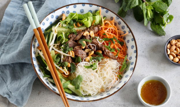 Slide 1 of 20: Bo bun is a Vietnamese dish made of a wholesome beef and noodle salad, full of contrasting flavors and textures. Dressed with nuoc mam, a Vietnamese dipping sauce, it's also often garnished with fried spring rolls. Try our easy step-by-step recipe here.