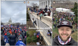 "a person standing in front of a crowd: FBI Agents received a tip that Matthew Bledsoe had been part of the group that entered the Capitol Building in D.C. illegally. They received a video compilation that was posted to his Instagram account, ""theessentialmattbledsoe."""