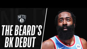 a close up of James Harden: James Harden made history in his first game as a Brooklyn Net when he recorded a 32-PT, 12 REB, 14 AST triple-double in the Nets' win over the Magic!  Subscribe to the NBA: https://on.nba.com/2JX5gSN 