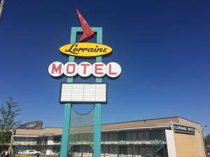 a sign on the side of National Civil Rights Museum: Lorraine Motel April 1, 2017. (Photo by Clint Henderson:The Points Guy)