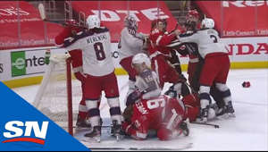 Zach Werenski, Dylan Larkin, Bobby Ryan, and more players got into a fight after the Red Wings scored a goal on the Blue Jackets with Joonas Korpisalo bowled over in the net.