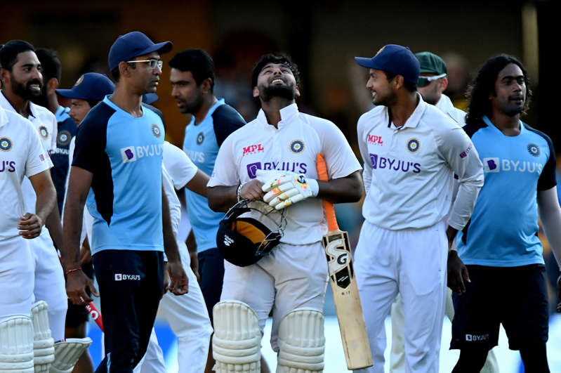 Rishabh Pant of India celebrates victory with his team mates after day five of the 4th Test Match in the series between Australia and India at The Gabba on January 19, 2021 in Brisbane, Australia.