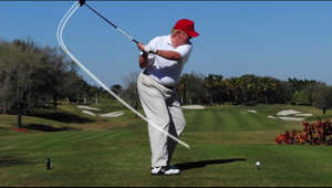 Top 100 Teacher Brady Riggs analyzes the president's swing in detail.  Read more here: http://www.golf.com/tour-news/2018/01/30/suzann-pettersen-calls-donald-trump-cheating-quote-fake-news  Subscribe to our channel for more GOLF videos: http://www.youtube.com/subscription_center?add_user=golfmagazine  Connect with GOLF online: Site: http://www.golf.com Facebook: https://www.facebook.com/SI.Golf Twitter: https://twitter.com/golf_com Youtube: https://www.youtube.com/user/GolfMagazine  GOLF.com is the biggest website in golf and your best source for PGA Tour news, golf tips, equipment reviews and course guides from Sports Illustrated and Golf Magazine. Your game is our passion.