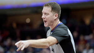 a close up of Brent Barnaky: Apr 9, 2019; Cleveland, OH, USA; NBA referee Brent Barnaky (36) makes a call in the second quarter of a game between the Cleveland Cavaliers and the Charlotte Hornets at Rocket Mortgage FieldHouse.