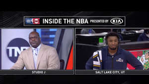 graphical user interface, application: Shaq gives Donovan Mitchell criticism and Spida wasn't having it.  