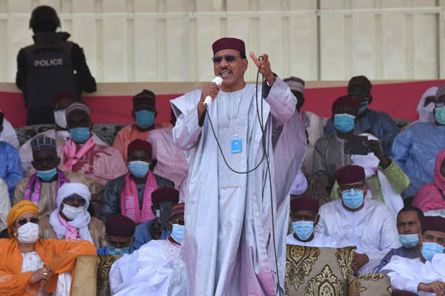 Slide 3 of 126: Presidential candidate for the Nigerien Party for Democracy and Socialism (PDNS) Mohamed Bazoum gives a speech during a campaign rallye in Diffa on December 23, 2020, ahead of Niger's December 27 presidential and legislatives elections. (Photo by Issouf SANOGO / AFP) (Photo by ISSOUF SANOGO/AFP via Getty Images)