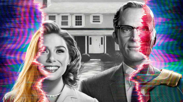 Slide 9 of 15: Make room in your schedule for the first Marvel series on Disney+ which tells the story of Wanda (Elizabeth Olsen) and Vision (Paul Bettany). After the events in the film 'Avengers: Endgame,' they live in an American housing community with no memory of the time when they were superheroes.