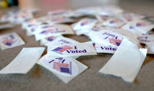 a close up of a piece of paper: I Voted stickers at the South Shore Park voting location on South Shore Dr, in Milwaukee, Wis. on Tuesday, Nov. 3, 2020. - Photo by Mike De Sisti / Milwaukee Journal Sentinel via USA TODAY NETWORK