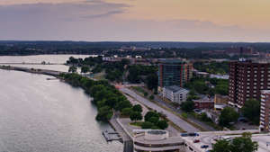 a view of a city next to a body of water: Shot of the Wisconsin capital.