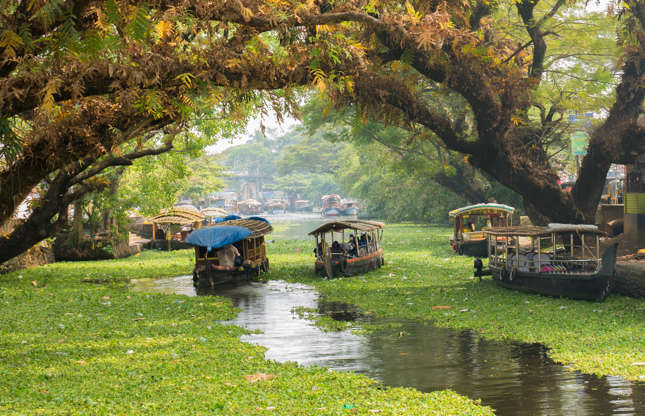 Slide 11 of 21: Located in the state of Kerala, Alappuzha is famous for its canals. Constructed to facilitate trade and transportation, the still waters linking the canals are a popular tourist attraction from which cruising visitors can catch glimpses of local villages and merchant boats.