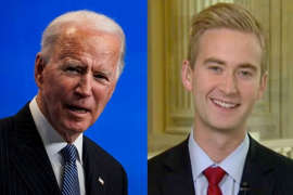Joe Biden, Peter Doocy are posing for a picture: joe biden peter doocy